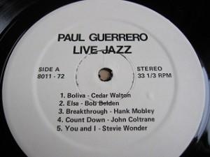 ポール・ゲレロ PAUL GUERRERO / LIVE JAZZ レコード