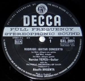 アルヘンタ / アランフェス協奏曲 スペインの庭の夜 レコード