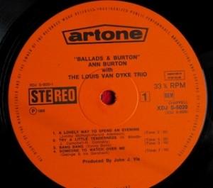 アン・バートン ANN BURTON / Ballads And Burton レコード