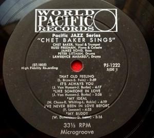 チェット・ベイカー Chet Baker / Chet Baker Sings レコード