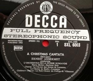 アンセルメ・オネゲル / クリスマスカンタータ レコード